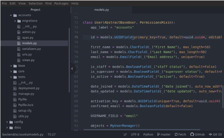 Atom interface window with code