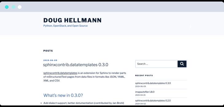 Doug Hellmann Python blog website screenshot
