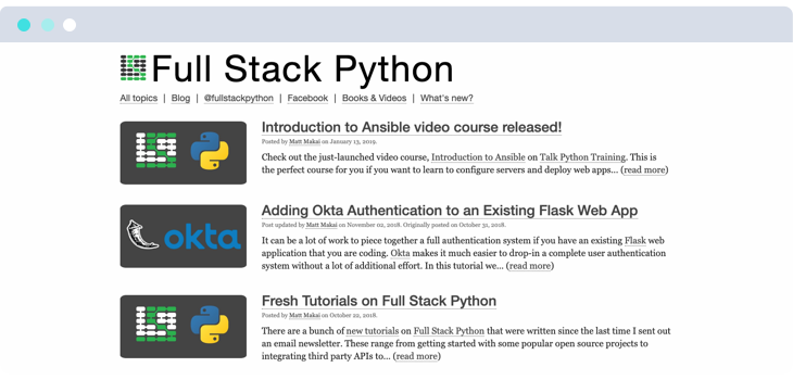Fullstack Python webpage screenshot