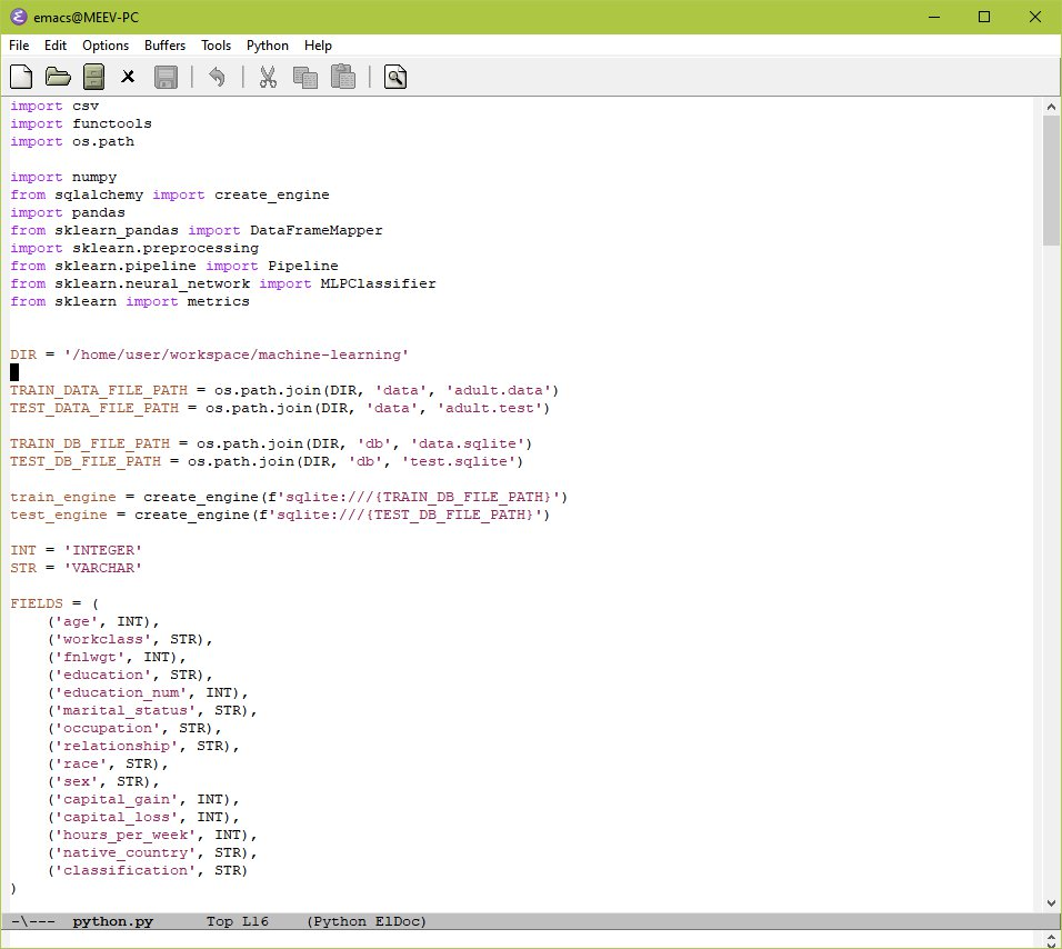 GNU Emacs interface window with code
