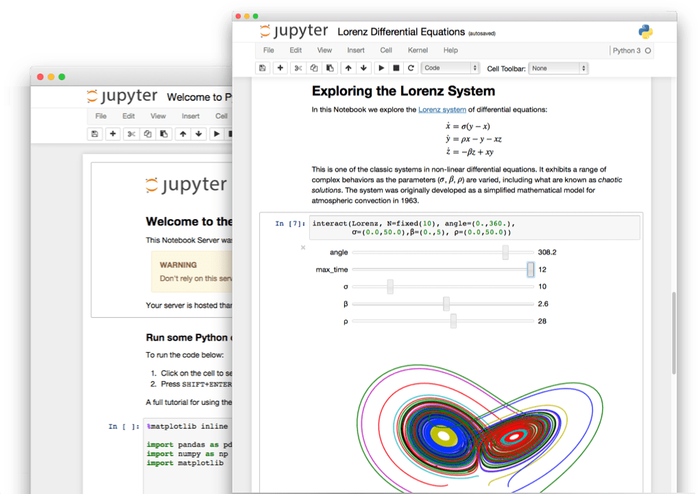 Jupyter Notebook interface window with code