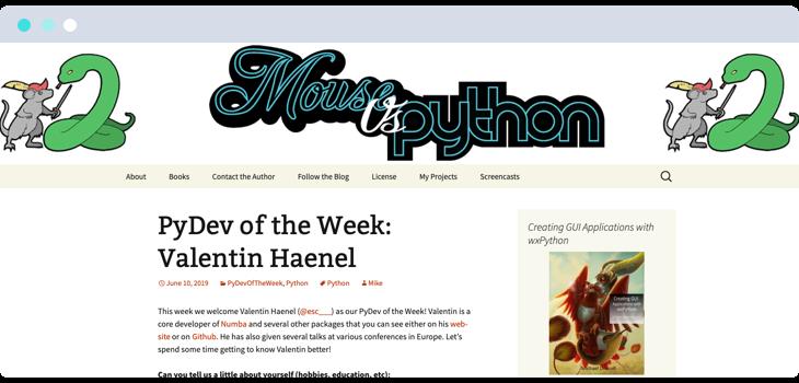 Mouse vs Python webpage screenshot