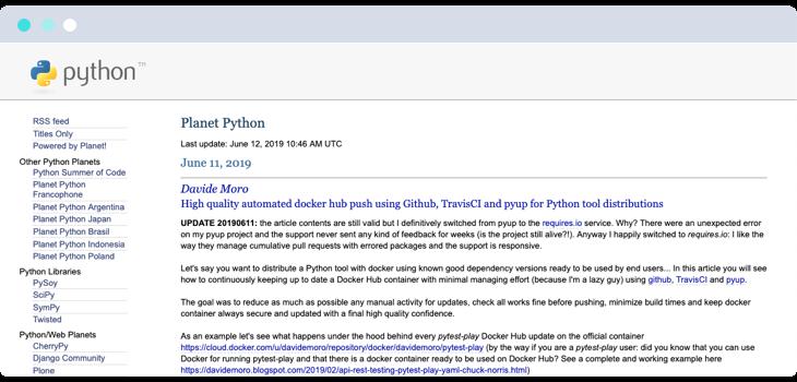 Planet Python webpage screenshot