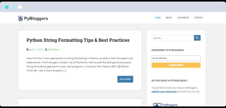 PyBloggers blog website screenshot