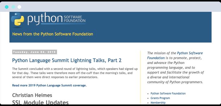 Python Software Foundation website screenshot