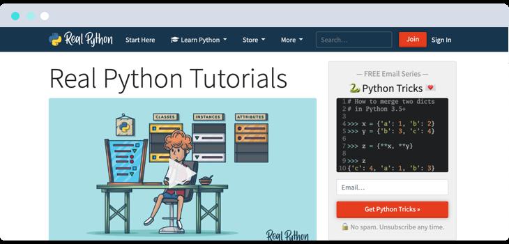 Real Python blog website screenshot