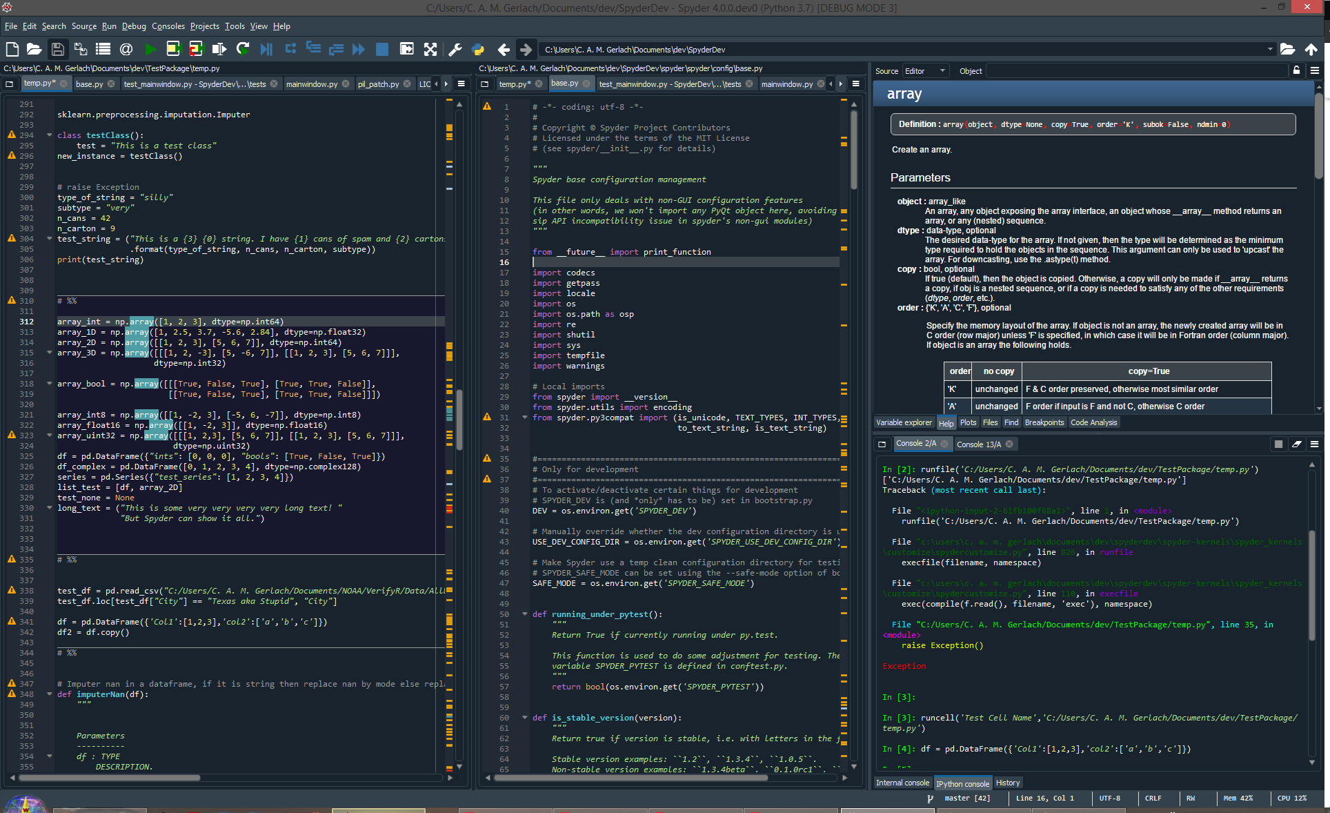 Spyder interface window with code