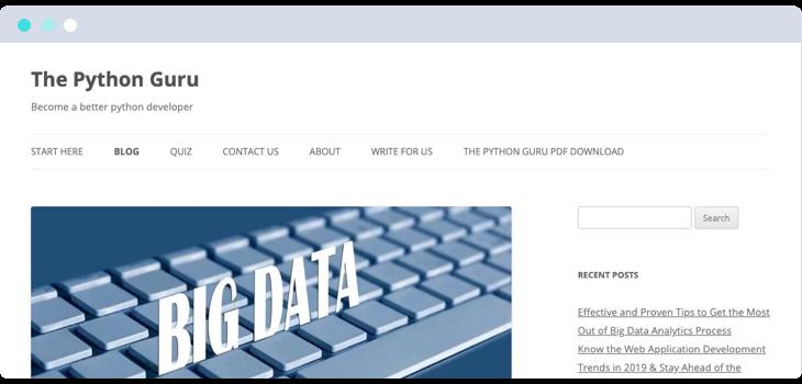 The Python Guru blog website screenshot