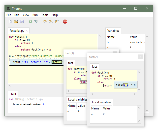 Thonny interface window with code