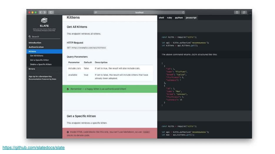 Slate API documentation