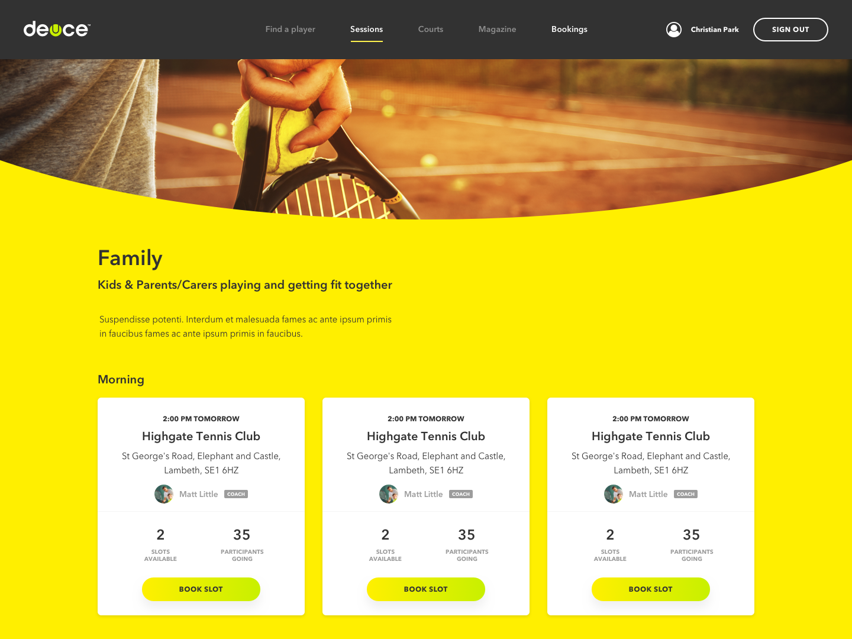 UK Tennis mobile app project built with React Native and Django - Deuce Tennis - Case Study
